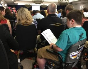 A boy with Duchenne at Monday's FDA hearing on eteplirsen.