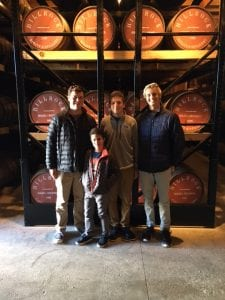 Charley and friends touring a Hudson Valley distillery (Jackson's on the left)